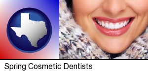beautiful white teeth forming a beautiful smile in Spring, TX