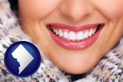 washington-dc map icon and beautiful white teeth forming a beautiful smile