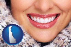 delaware map icon and beautiful white teeth forming a beautiful smile
