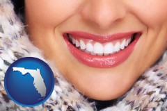 florida map icon and beautiful white teeth forming a beautiful smile