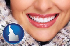 idaho map icon and beautiful white teeth forming a beautiful smile