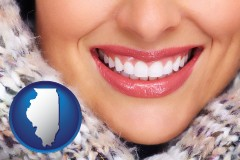 illinois map icon and beautiful white teeth forming a beautiful smile