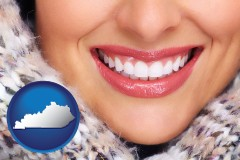 kentucky map icon and beautiful white teeth forming a beautiful smile