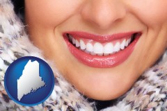 maine map icon and beautiful white teeth forming a beautiful smile