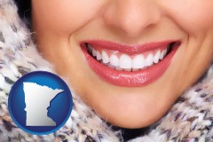 minnesota map icon and beautiful white teeth forming a beautiful smile