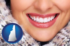 new-hampshire map icon and beautiful white teeth forming a beautiful smile