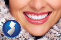 new-jersey map icon and beautiful white teeth forming a beautiful smile