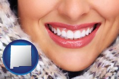new-mexico map icon and beautiful white teeth forming a beautiful smile