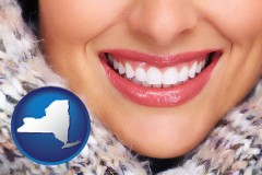 new-york map icon and beautiful white teeth forming a beautiful smile