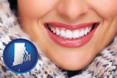 rhode-island map icon and beautiful white teeth forming a beautiful smile