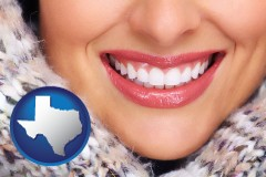 texas map icon and beautiful white teeth forming a beautiful smile
