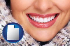 utah map icon and beautiful white teeth forming a beautiful smile