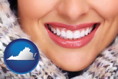 virginia map icon and beautiful white teeth forming a beautiful smile