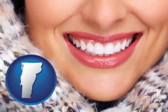 vermont map icon and beautiful white teeth forming a beautiful smile
