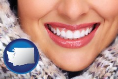 washington map icon and beautiful white teeth forming a beautiful smile