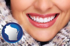 wisconsin map icon and beautiful white teeth forming a beautiful smile
