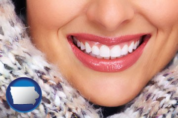 beautiful white teeth forming a beautiful smile - with Iowa icon