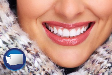 beautiful white teeth forming a beautiful smile - with Washington icon