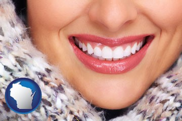 beautiful white teeth forming a beautiful smile - with Wisconsin icon