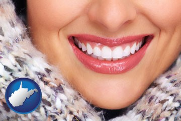 beautiful white teeth forming a beautiful smile - with West Virginia icon